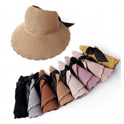 【大童及媽媽專屬,浪漫一夏超有型配件春夏遮陽帽】可折疊太陽帽大帽簷沙灘帽,超時尚有型/遮陽帽/空頂帽/沙灘帽/帽子☆母親節